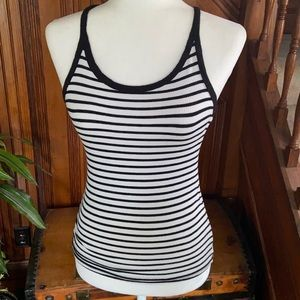 Black and white striped racer back tank top